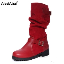 Buy Women Flat Half Short Boots Autumn Winter Warm Mid Calf Boot Bota Buckle Round Toe Sexy Footwear Shoes Size 34-43 for $23.98 in AliExpress store