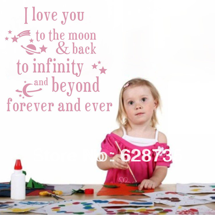 I Love You To The Moon And Back Kids Bed Room Wall Quotes Beautiful Nursery Wall Decor Stickers(China (Mainland))