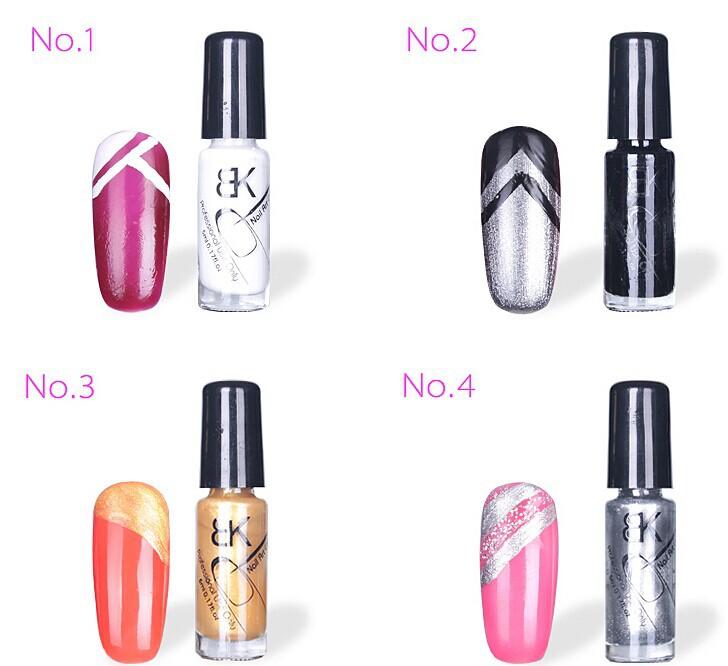 12color BK Nail Art Tool Dotting Pen Glitter Nail Polish Painting Liquid 3d Pen 5ml Nail Polish Bk Luminous Paint(China (Mainland))