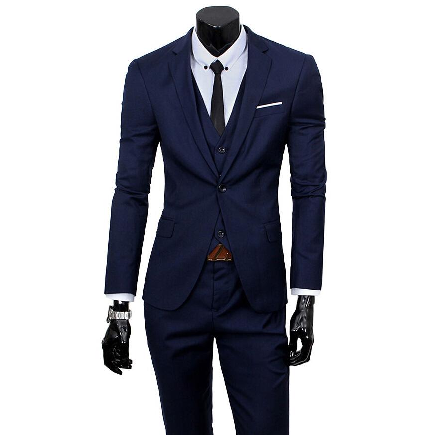 2016 New Men Suits One-Buckle Brand Suits Jacket Formal Dress Men Suit Set Men Wedding Suits Groom Tuxedos (Jacket+Pants+Vest)(China (Mainland))
