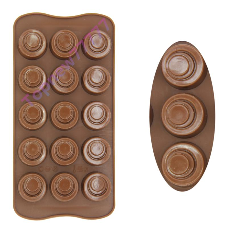 15-Hole Silicone Mould Round Button Cell Shape Candy Chocolate Gummy Mold Decorating Tool Fondant Baking F2598(China (Mainland))