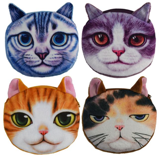 2016 новинка 3D кот монеты женщины монета хранения дети бумажник плюшевые подарок ...