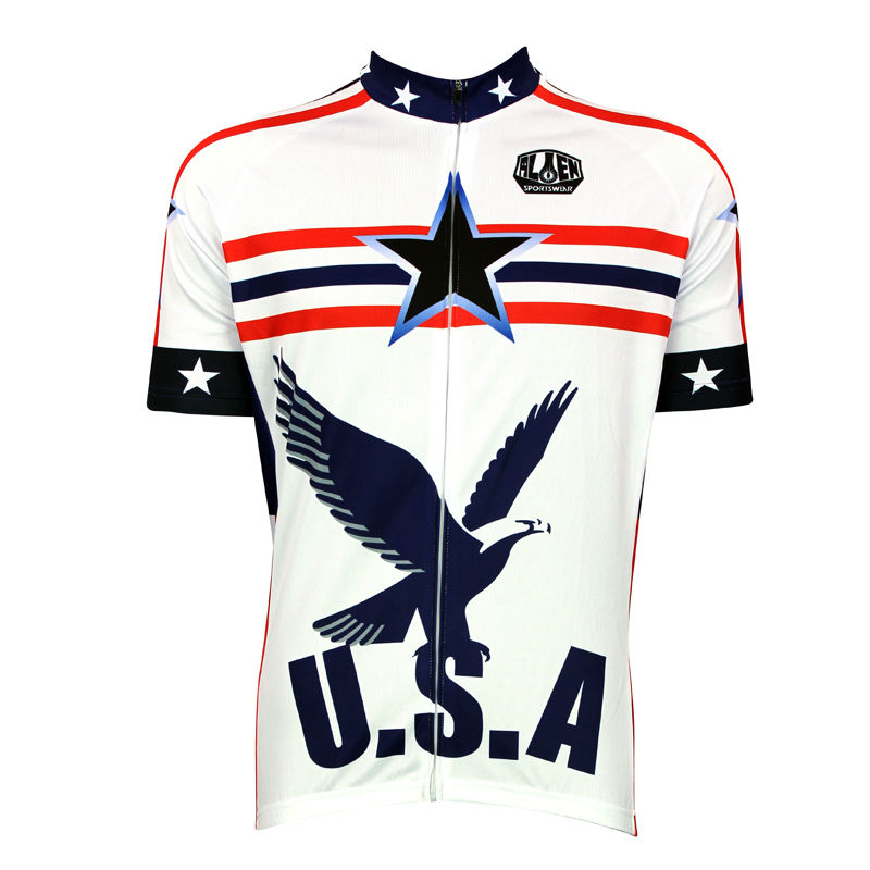 New Men's Cycling Jersey Comfortable Bike/Bicycle Shirt USA Bald Eagle White Alien SportsWear cycling clothing Size 2XS-5XL(China (Mainland))