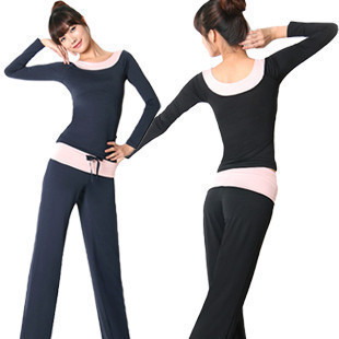 Spring and summer yoga clothing long-sleeve yoga clothes set slim pad