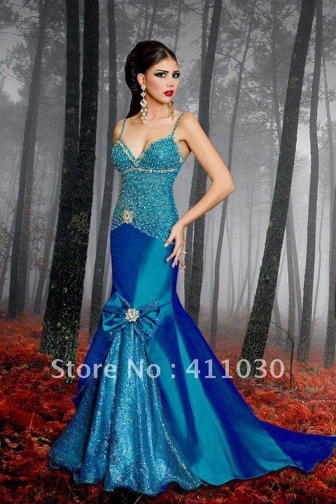Dark blue purple prom dress