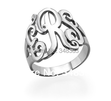 cheap chunky personalized monogram name rings silver for