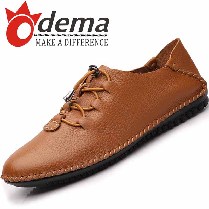 ODEMA 2015 Autumn New Brand Genuine Leather Men's Flats Men Driving Shoes Loafers Lace Mens Moccasin