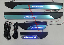 LED light 4 Door Stainless Door Sill Plate Guard For Honda Accord 2013-2015 car-styling(China (Mainland))