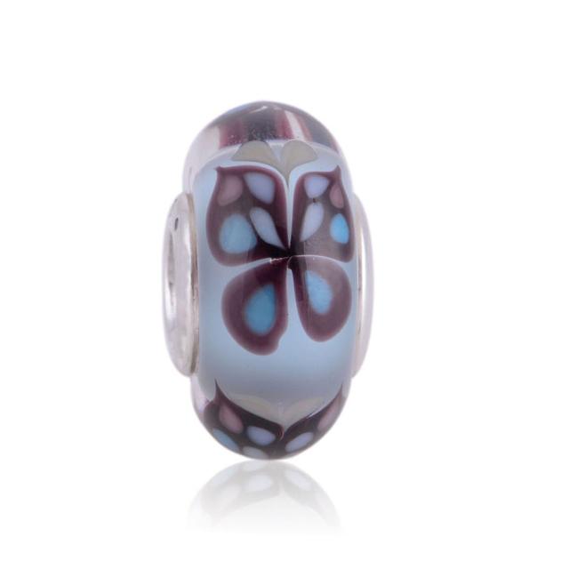 Стерлингового серебра 925 пробы бабочки муранского синего стекла бусины женщин DIY ювелирных подходит европейских шарм и ожерелья