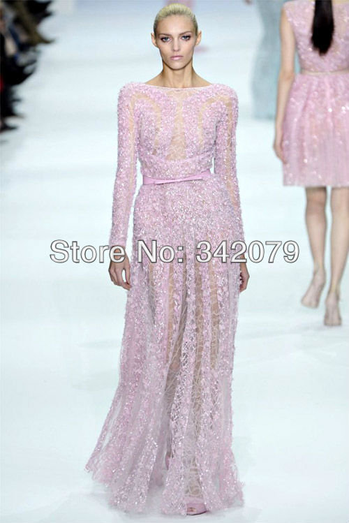 ph08392 Elie Saab haute couture a classic bateau neckline fully appliques floor length dress long sleeves evening dresses(China (Mainland))