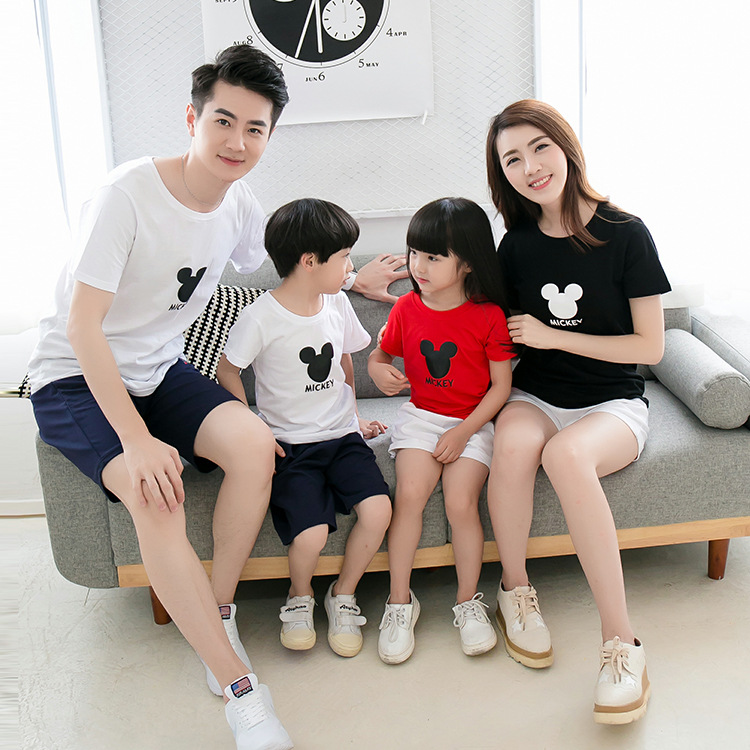 2016 New Summer Cartoon design cotton T-shirt Family Style clothes for mother and Daughter,Father and Son Tees 3 Colors Tops XXL(China (Mainland))