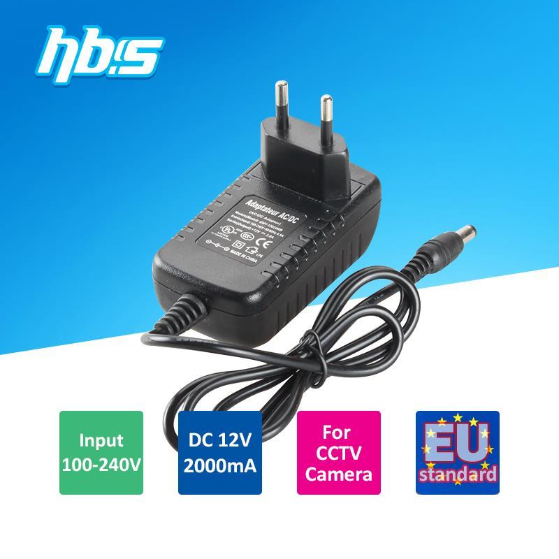 EU standard 100-240V input DC12V 2000mA output 5.5mm DC jack CCTV Power Adapter Plug(China (Mainland))