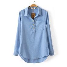 New Fashion Casual Shirt Turn-Down Collar Shirt Women Blouses & Shirts Ladies Vintage Woman Work Wear sHIRT()