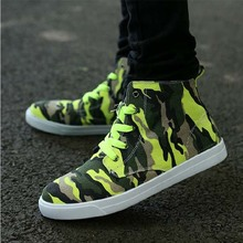 free shipping men neon sneakers high top canvas shoes Camouflage print cool guy hip hop casual
