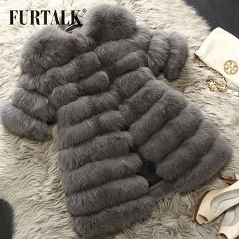 Warmful весь комплект лиса шубной зимний россии лиса шубу средней длины - шубы пальто ...