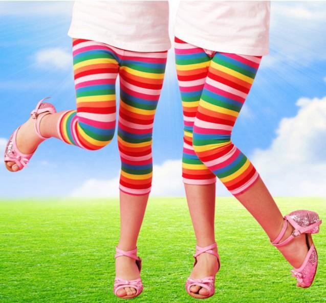 Girls Leggings Nova Brand Children Capris Pants Fashion Casual yarn dyed stripe Girl Legging cotton kids leggings for children(China (Mainland))