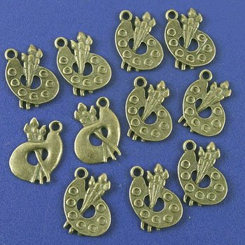 50pcs antiqued bronze palette and painting brush design pendant G995