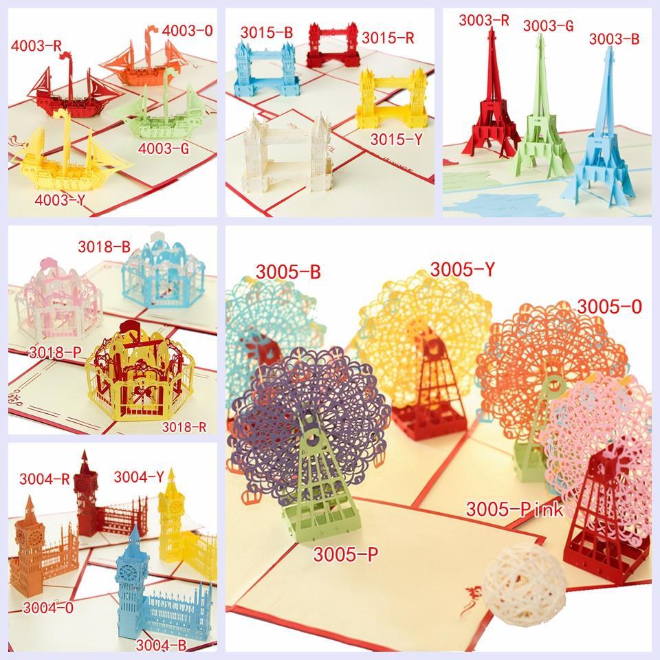 Combination Sale Birthday Model Handmade Birthday Greetings Cards Kirigami 3D Pop up Cards Free Shipping(China (Mainland))