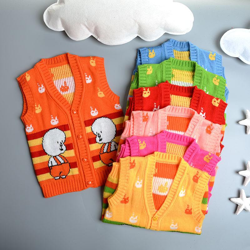 Fashion Sweater Spring & Autumn Lovely Baby Pattern Cardigan Unisex V-neck Sweater Vest Kids Waistcoat Vest Girls Boys Sweaters(China (Mainland))