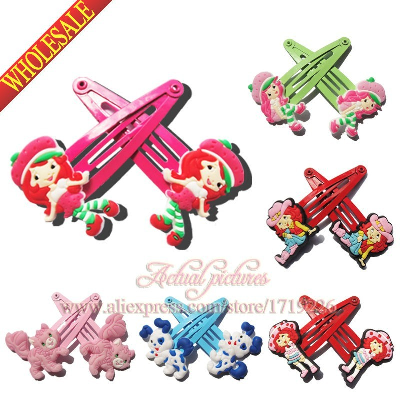 Party Favors 6pairs lot Strawberry Shortcake Baby Girls Kids Hair Clips Elastic Hair Bands Hair Accessories