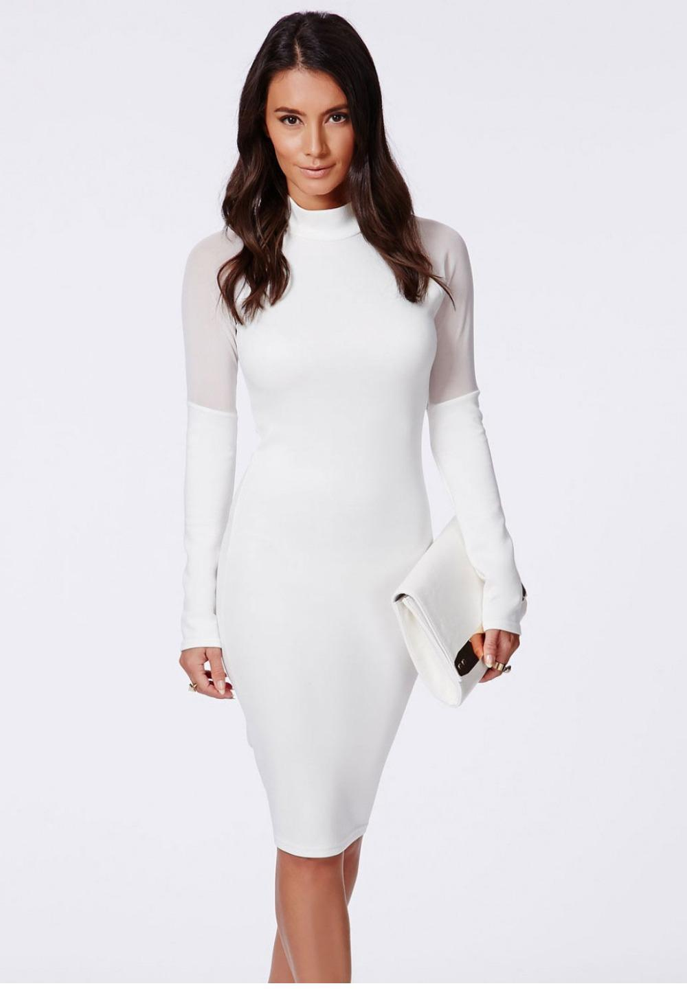 Winter White Long Sleeve Dress