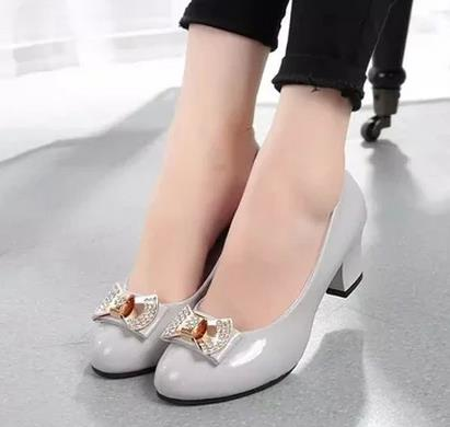 Autumn thick heel platform shoes rhinestone high heels round toe ot work shoes casual female leather<br><br>Aliexpress