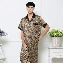 Fashion Summer Men Pajamas Set Luxury Style Dragon Pattern Embroidery Male Nightwear Half Sleeves Imitation Silk Sleepwear(China (Mainland))