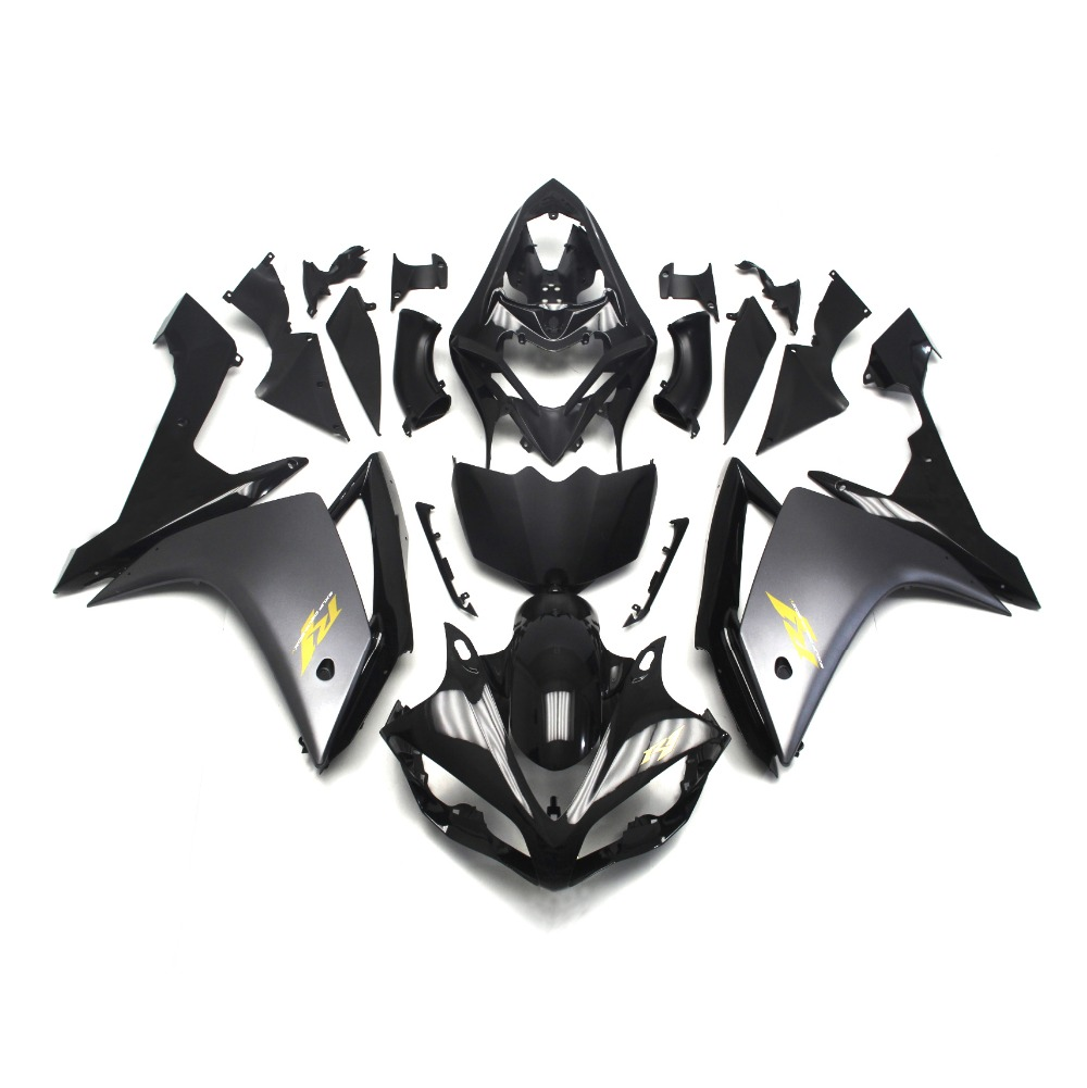 Fairings For Yamaha YZF1000 R1 Year 07-08 2007 2008 ABS Motorcycle Fairing Kit Bodywork Cowling Flat Black with Gold Decals New(China (Mainland))