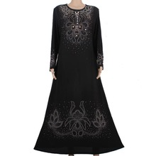 Muslim abaya kaftan dress Islamic clothing for women embroidery dubai abaya kaftan muslim hijab abaya dress black 55M8896(China (Mainland))