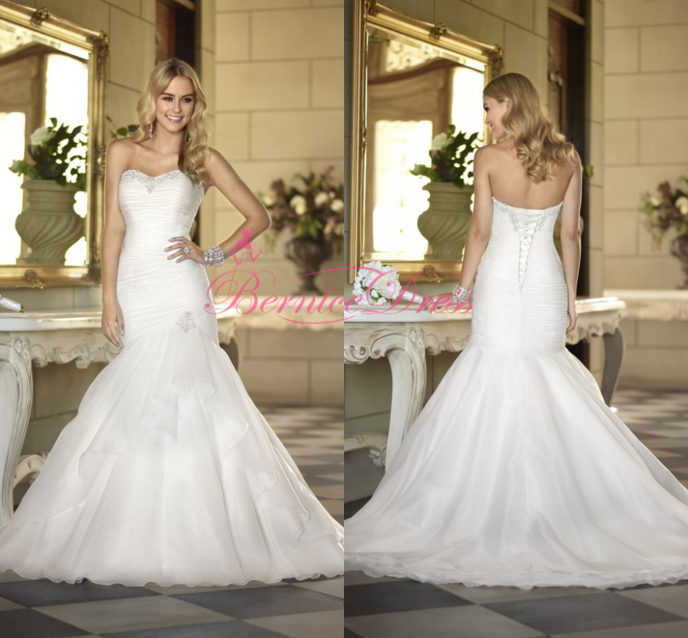 Buy bridal gown 2014 mermaid court train white organza for Mermaid wedding dress with train
