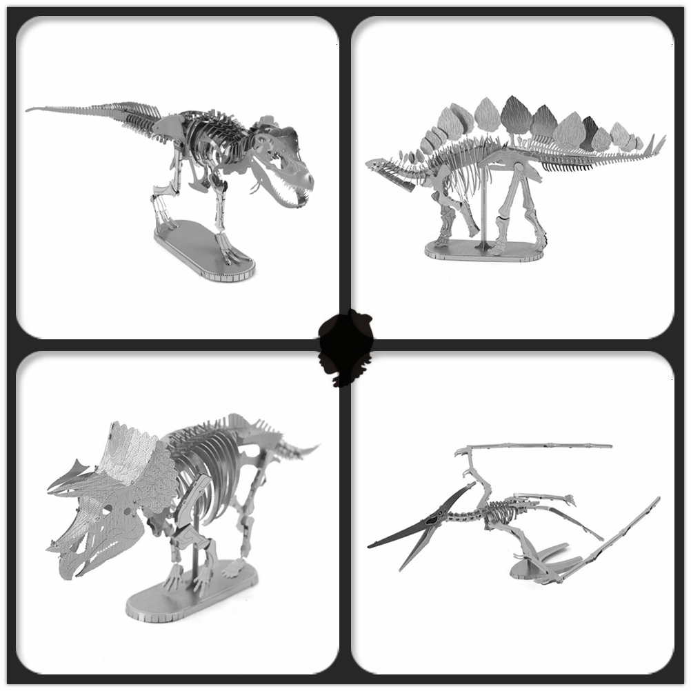 JWLELE Jurassic Park 4 styles Ancient overlord dinosaur jigsaw puzzles 3D Metal assembly model Souptoys Creative gift(China (Mainland))