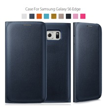Wallet Flip Cover Black Cover for Samsung Galaxy S6 Edge Flip Leather Cover Credit Card Holder(China (Mainland))