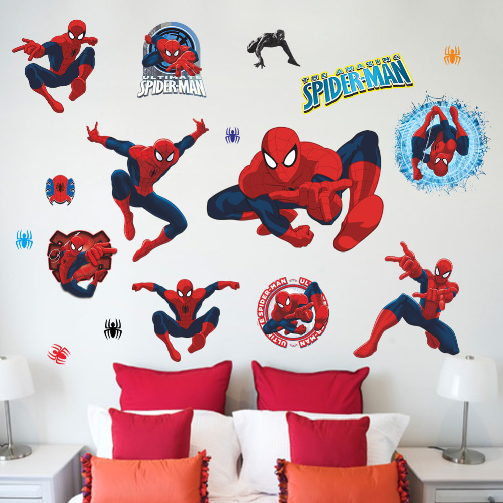 Buy movie character 3d cartoon spiderman for Childrens wall mural stickers