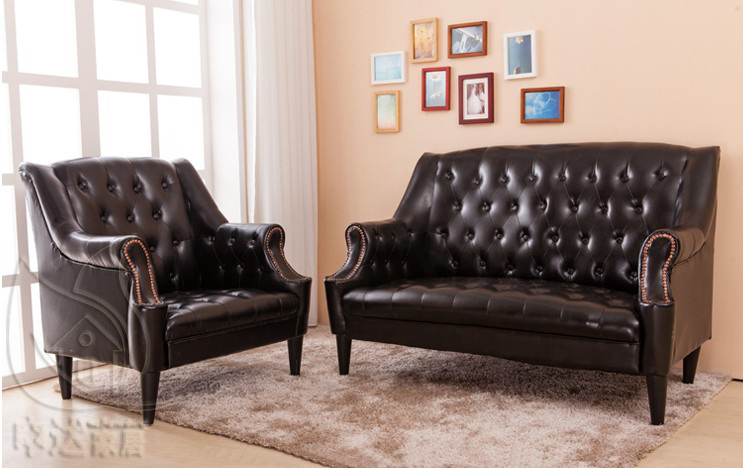 American retro living room european style bedroom single Small leather couch for bedroom