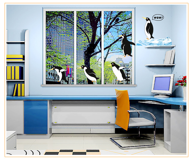 Ld store wall decals 90 60cm cartoon cute penguins wall for Home decor 90s