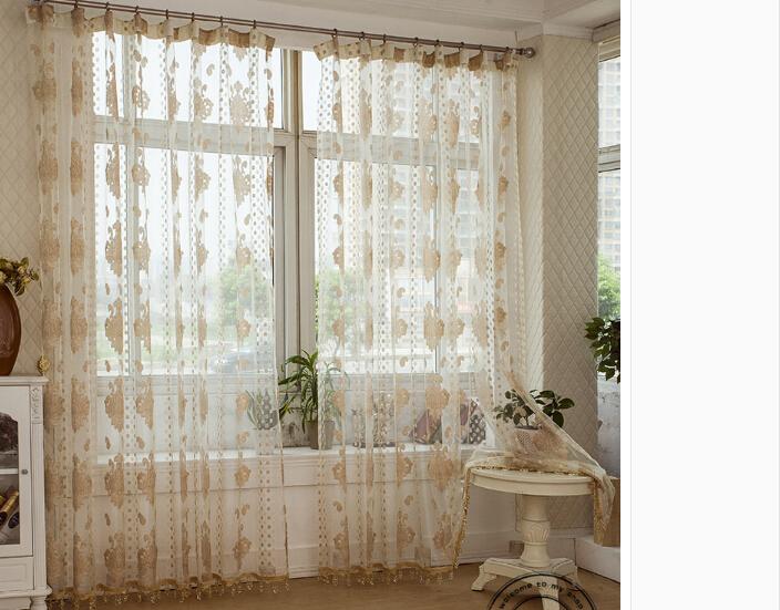 Promotion Jacquard Window Curtain Yarn Organza Gauze Tulle Voile Sheer Cheap Modern