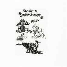 """New arrival scrapbooking DIY photo cards """"lovely animals dog house """"silicon stamps transparent stamp for Christmas gift TM-174(China (Mainland))"""