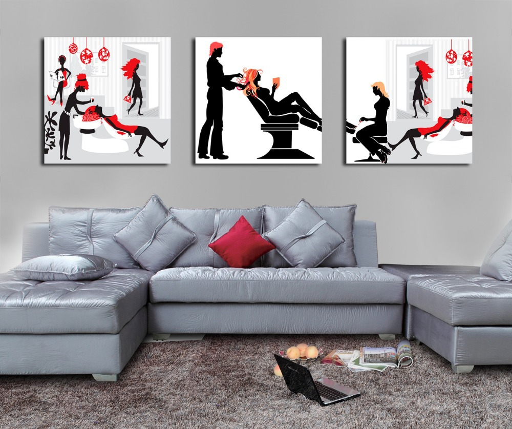 Free shipping unique figure print painting high quality abstract canvas art hair salon decor(China (Mainland))
