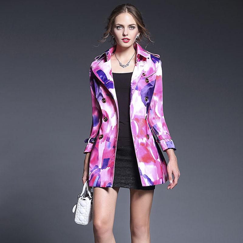 Women Coat 2016 Autumn Winter New Fashion Brand Hot SaleTurn-down Collar Botton Double Pockets Colorful Printed Belt WindbreakerОдежда и ак�е��уары<br><br><br>Aliexpress