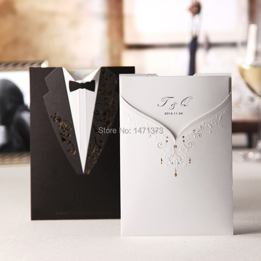 2015 New Real 50sets Couple Dress Laser Cut Wedding Invitations Cards+Envelopes Seals Marriage Party Engagement Gatefold Invites(China (Mainland))