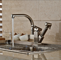 Deck Mount Pull Out Side Sprayer Kitchen Faucet Dual Spout Sink Mixer Tap Brushed Nickel