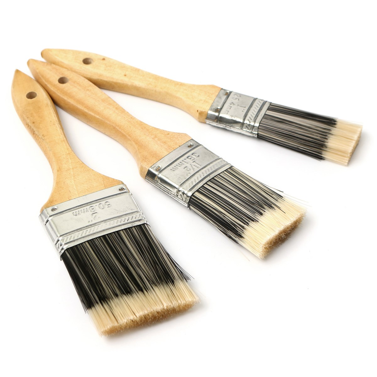3Pcs/set Best Promotion Flat Painting Brushes Set Wooden Handle For Artists Painting Oil Acrylic Varnishing School Home Supplies(China (Mainland))