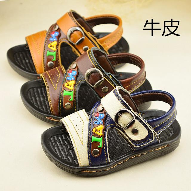 2016 новые малыши обувь мальчиков сандалии кожаные сандалии водонепроницаемый сандалии кроссовки черный белый желтый коричневый 13 см - 15 см