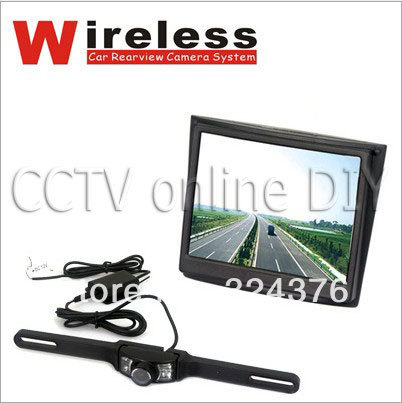 3.5 inch TFT-LCD Wireless Car Rear view System Kit Night Vision Number Plate Camera
