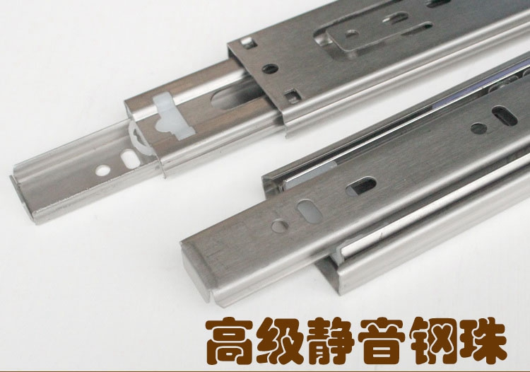 Stainless steel drawer track mute slide rail track ball three ball slide thicken a price to pay 2<br><br>Aliexpress