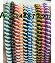 5 pcs/lot Plastic spring Protective sleeve Mobile Tablet  Bicolor Spiral Cord Protector for Charger&Earphone Cords HCP012(China (Mainland))