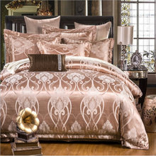 Luxury Euro silk satin Bedding Sets 4pcs lace duvet cover queen/king size 80s cotton Boho wedding bedline best gift(China)