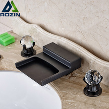Buy Deck Mounted Waterfall Washbasin Mixers Dual Handle Bathroom Brass Basin Faucet Oil Rubbed Bronze Finish for $90.86 in AliExpress store