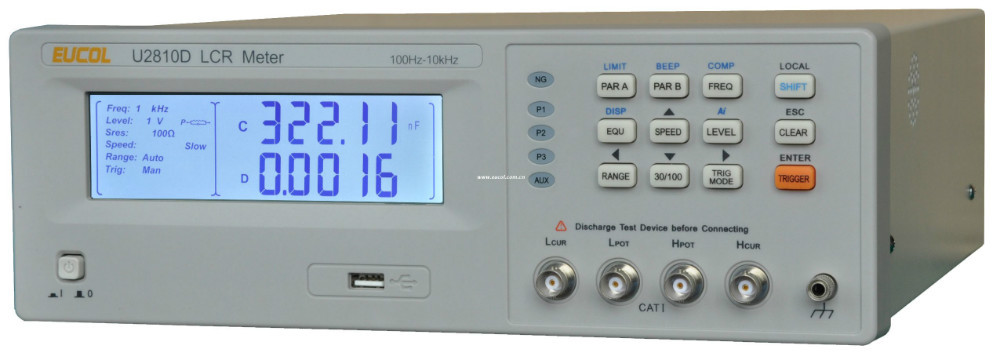 New Product U2810D LCR Meter with 100kHz frequency ,Basic Accuracy:0.1%, Large character LCD with backlight<br>