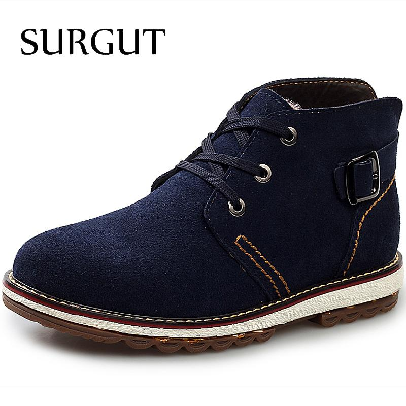 SURGUT High Quality New Fashion Genuine Leather Men's Boots Fashion British Style Solid Plain Short Boot Winter Men Casual Shoes(China (Mainland))